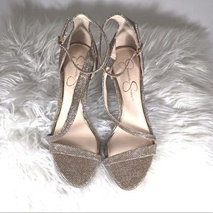 Jessica Simpson sparkly gold high heels Size 8